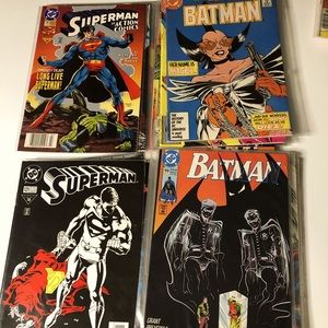20 Vintage DC Batman & Superman Comic Books Bagged